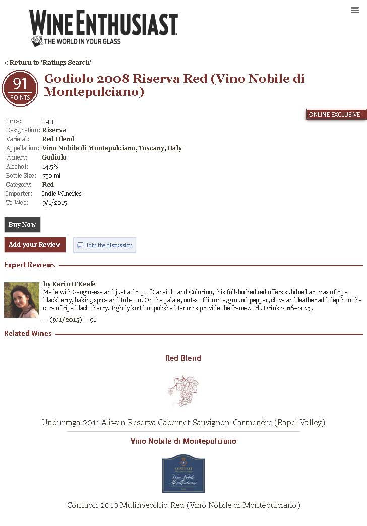 Godiolo 2008 Riserva Red Vino Nobile di Montepulciano Wine Enthusiast Buying Guide Page 1